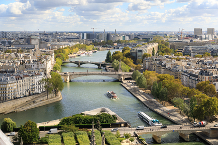 The view on Seine river from tower of the Notre-Dame de Paris Stok Fotoğraf