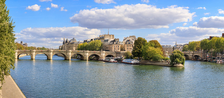 The stone bridge of Pont Neuf in Paris, panoramic image Фото со стока