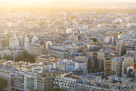 Aerial: Rooftop of Paris in a sunny day Stok Fotoğraf