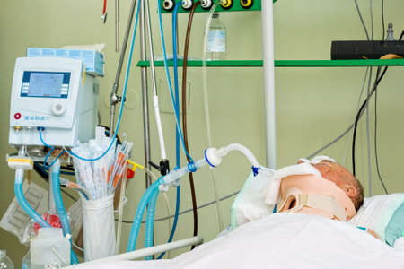 Patient lying in intensive care after surgery Stock Photo - 5584757