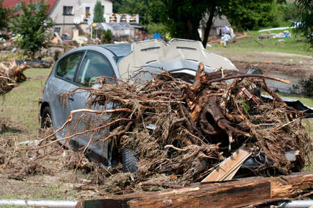 The destroyed car after the floods in He?manice, Czech Republic (2010) photo