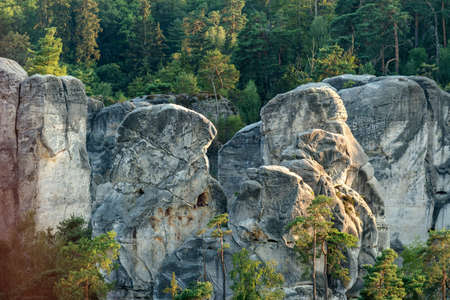aerial photograph: Sandstone formations in the Czech Paradise. Aerial photograph. Stock Photo