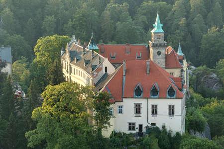 aerial photograph: Chateau Hruba Skala in the Czech Paradise on an aerial photograph. Czech republic