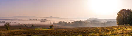 Panoramatic foggy autumn morning in Bohemian Paradise