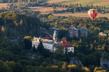 Hruba Skala Chateau in the Bohemian Paradise on the aerial photography.