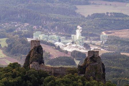Trosky castle ruin in Bohemian Paradise on aerial photo