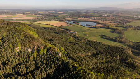 An area with sandstone rocks called Prihrazske skaly in the Bohemian Paradise on aerial photo.