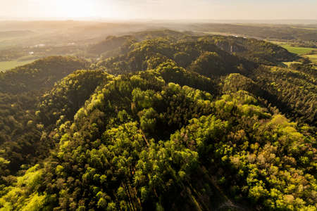 Prihrazske skaly in the Bohemian Paradise on aerial photo Reklamní fotografie