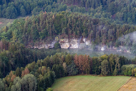 Sandstone rocks in Bohemian paradise area an aerial photo. Reklamní fotografie