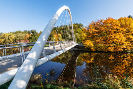 Autumn on the Jizera River in Semily, Bohemian Paradise.