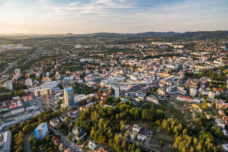 Aerial view of Liberec city from above Reklamní fotografie - 136950211
