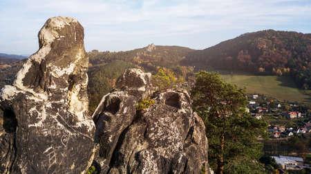 The rocks are known as the Pantheon in the village of Mala Skala Reklamní fotografie - 136950212