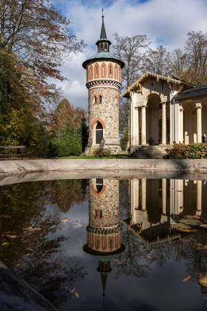 Orangery in the Sychrov castle park in autumn colors Reklamní fotografie