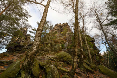 Scharfenstein rock outlook near Oybin in Saxony Reklamní fotografie - 140552182