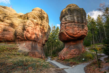 A red rock called Chalice Rock, near the town of Oybin.