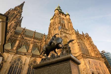 Exterior of St. Vitus Cathedral at Prague Castle. Reklamní fotografie