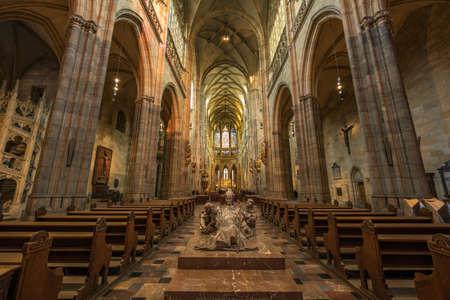 Interior of St. Vitus Cathedral at Prague Castle Reklamní fotografie - 138726193