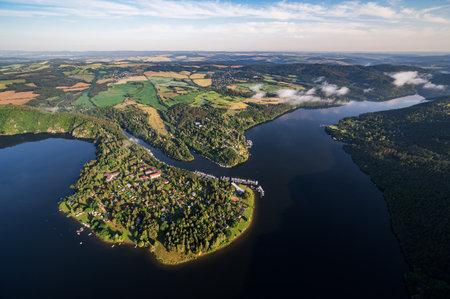 Slapy Dam on the Vltava River near Prague. Aerial shot. Reklamní fotografie - 161476535