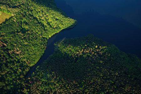 Slapy Dam on the Vltava River near Prague. Aerial shot. Banque d'images