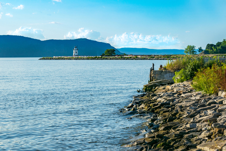 Looking toward the Sleepy Hollow Lighthouse across the Hudson River, Sleepy Hollow, Upstate New York, NY