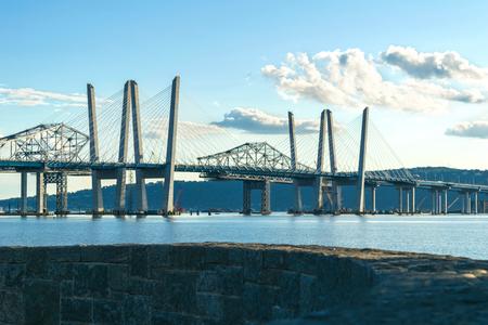 Tappan Zee Bridge spanning the Hudson River on a beautiful sunny day, medium shot, Tarrytown, Upstate New York, NY