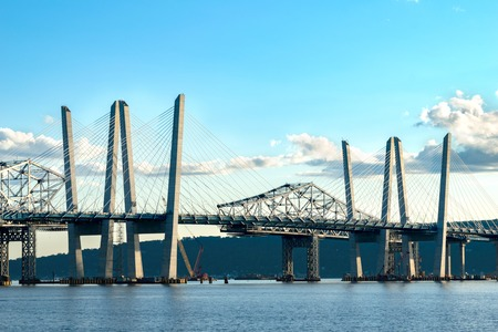 Tappan Zee Bridge spanning the Hudson River on a beautiful sunny day, close-up shot, Tarrytown, Upstate New York, NY
