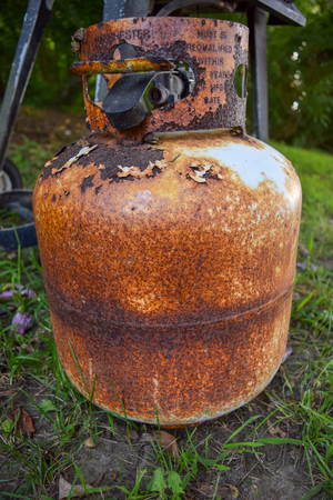Old and very rusty propane canister