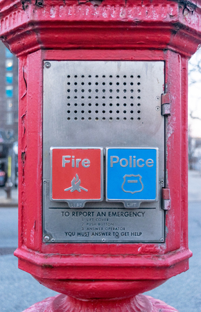 Police and Fire Department call box, alarm box, Gamewell box, close-up, Manhattan, New York City, NY