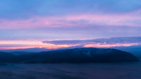 Colorful sky during sunset looking across the Susquehanna River toward Wrightsville, Lancaster County, PA