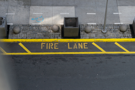 Fire lane markings seen from high above the street