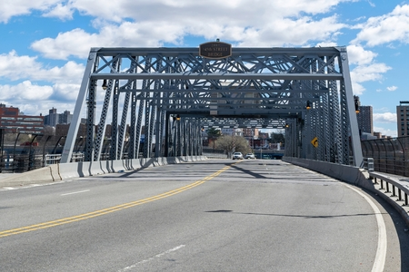 Looking eastward across the145th Street Bridge leading from the Bronx to Harlem in upper Manhattan Stock Photo