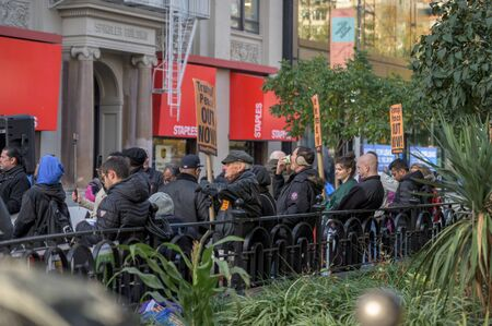 New York City, NY/USA - 11/09/2019: Protesters at an anti-Trump/Pence rally in downtown NYC
