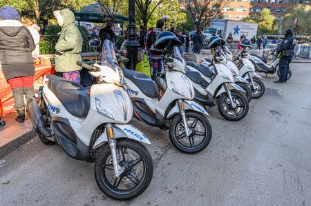 New York City, NY/USA - 11/09/2019: NYPD police scooters at an anti-Trump/Pence rally in downtown NYC