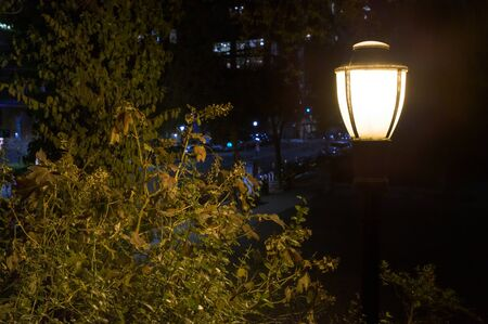 Old-fashioned street lamp in a public park at night, on Manhattans Upper East Side, New York City