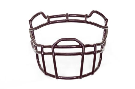 A football helmet's facemask isolated on white background, from the front