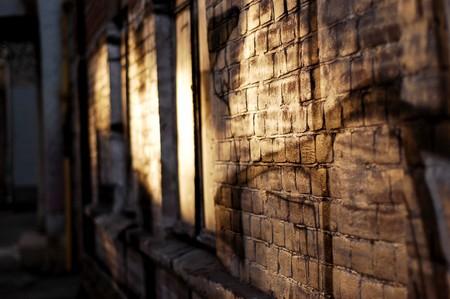 lightness: street brickwall lightness Stock Photo