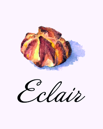eclair: Hand drawn eclair. Watercolor vector illustration Illustration