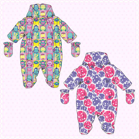Childrens overalls with prints vector illustration.