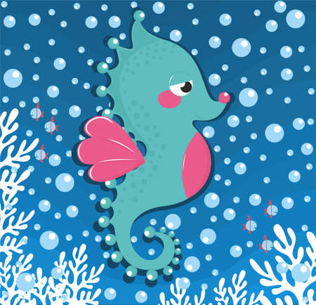sea horse background vector illustration. Ilustração