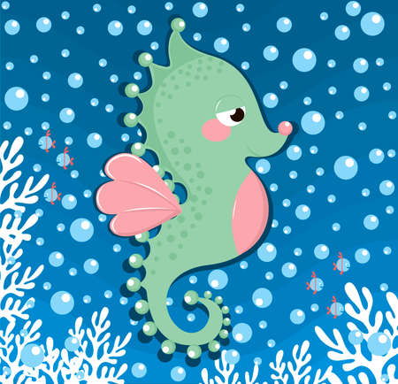 sea horse background vector illustration.