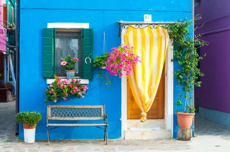 exterior wall: Detail in Burano, an island full of colors in the lagoon near Venice