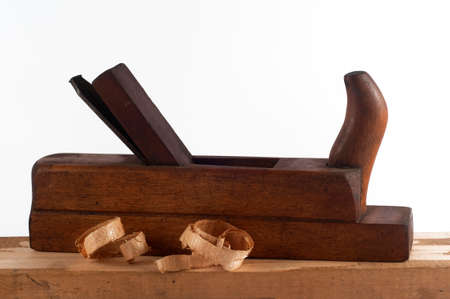 Old thin section plane with wood chips photo