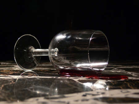 toppled: Wine toppled glass