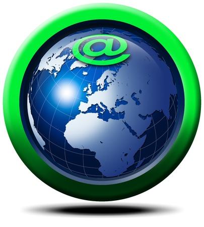 ordinateur logo: Symbole du globe 3D et Internet @
