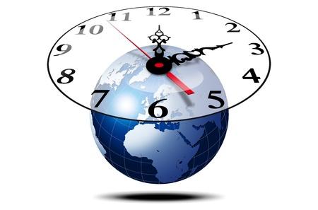 kwadrant: Ilustracja kuli ziemskiej w 3d niebieski z zegarem i rÄ…k