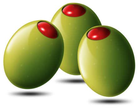 Illustration of 3 stuffed green olives, tomato or chili illustration
