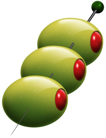 Illustration of 3 green olives stuffed with red pepper or tomato on a stick