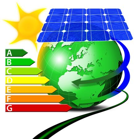 photovoltaic cell: Illustration of globe blue-green with solar panels and sun, cable and power management table