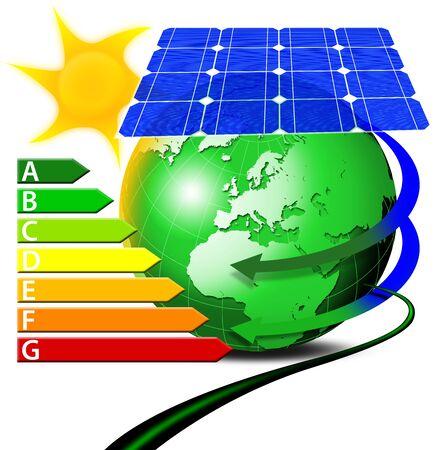 radiacion solar: Ilustraci�n de globo azul verdoso con paneles solares y tabla de administraci�n de sun, cable y poder Foto de archivo