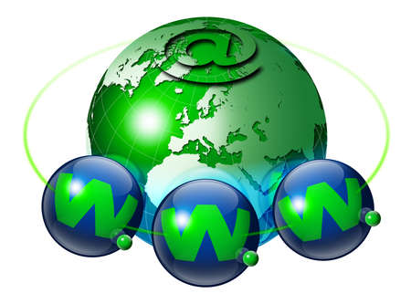 Globe with internet symbol and symbol with three planets www Stock Photo - 9707428